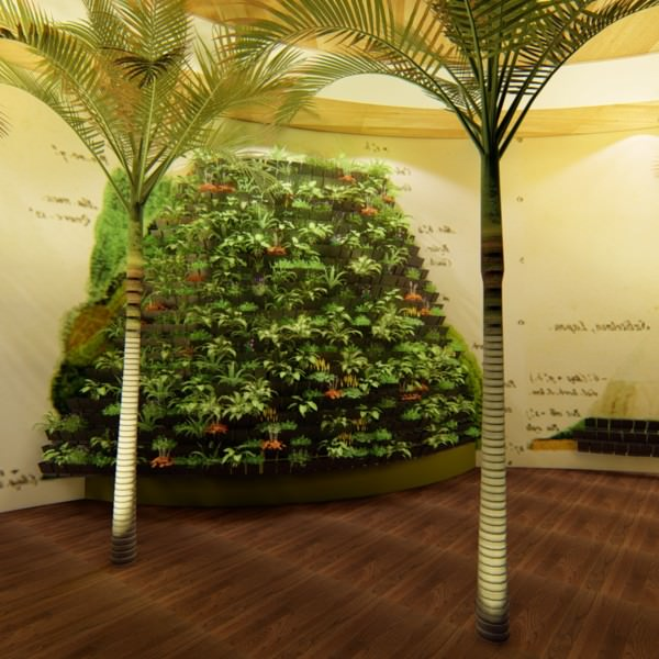 3D rendering green wall